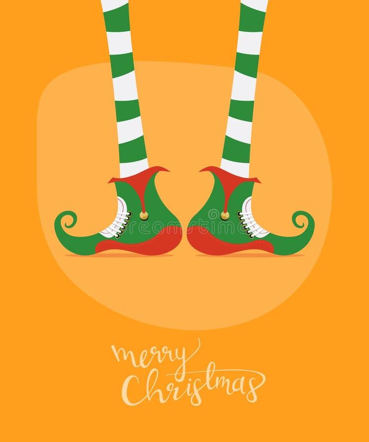 Tarjeta de felicitación de la Feliz Navidad con las piernas del duende divertido libre illustration