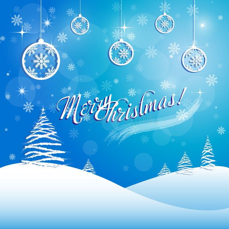 Tarjeta de felicitación de la Feliz Navidad con los copos de nieve y las bolas stock de ilustración