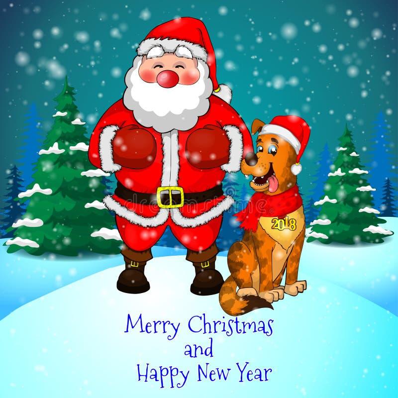 Tarjeta de felicitación de la Feliz Navidad con Papá Noel lindo y perro de los cristmas en fondo del bosque y de los copos de nie stock de ilustración