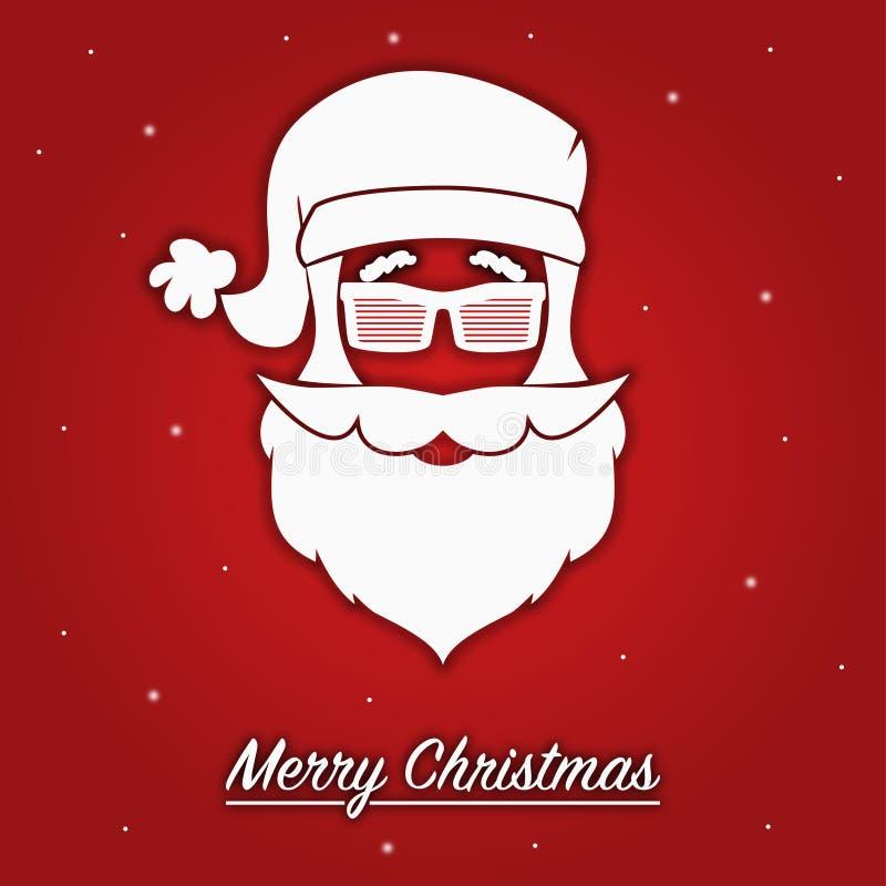 Tarjeta de felicitación de la Feliz Navidad con la silueta de la cabeza Santa Claus en gafas de sol o vidrios rayados con el somb ilustración del vector