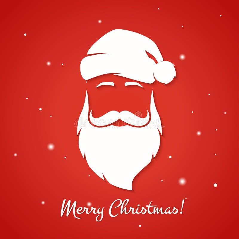 Tarjeta de felicitación de la Feliz Navidad con la silueta de Santa Claus stock de ilustración