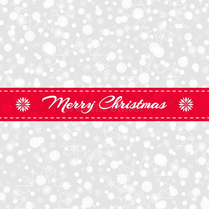 Tarjeta de felicitación de la Feliz Navidad Copos de nieve, modelo de estrellas con la cinta roja Fondo de la nieve del vector libre illustration