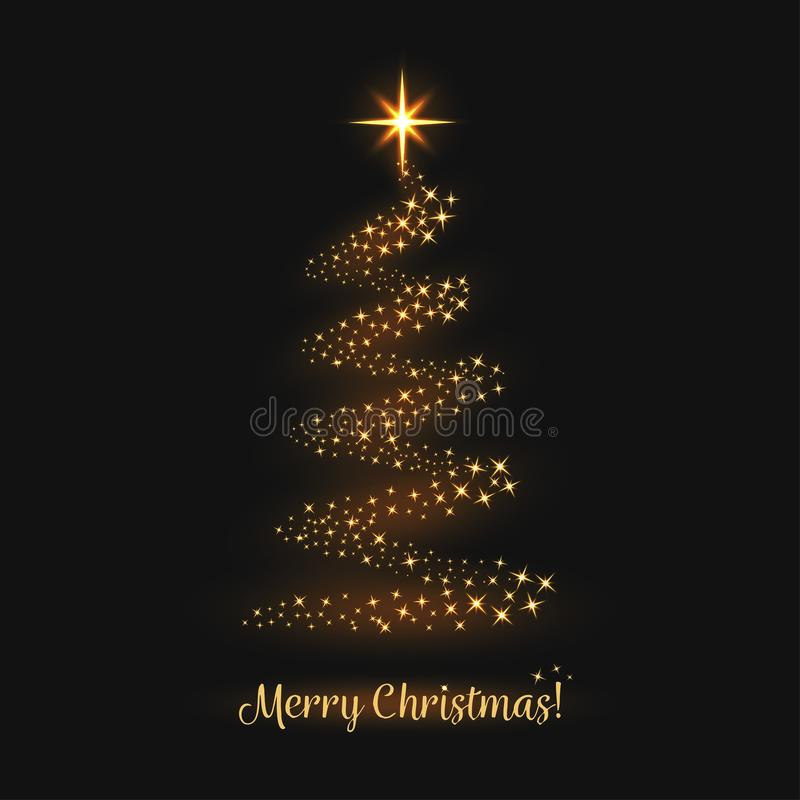 Tarjeta de felicitación de la Feliz Navidad El árbol de navidad con las chispas mágicas de oro, la estrella y la luz se arrastran libre illustration