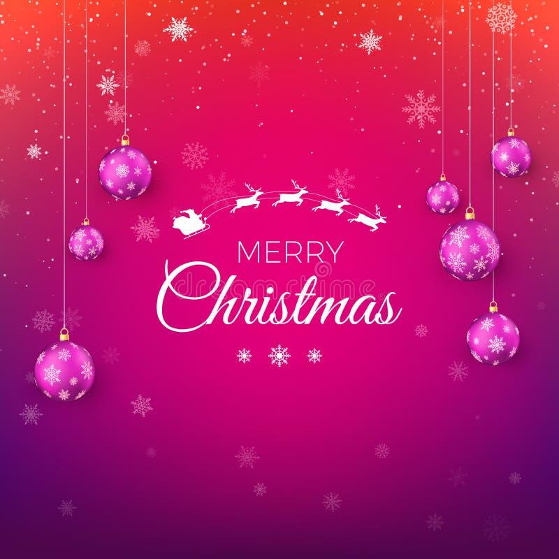 Tarjeta de felicitación de la Feliz Navidad en colores rojos y púrpuras Silueta blanca del vuelo Santa Claus con el trineo del re ilustración del vector