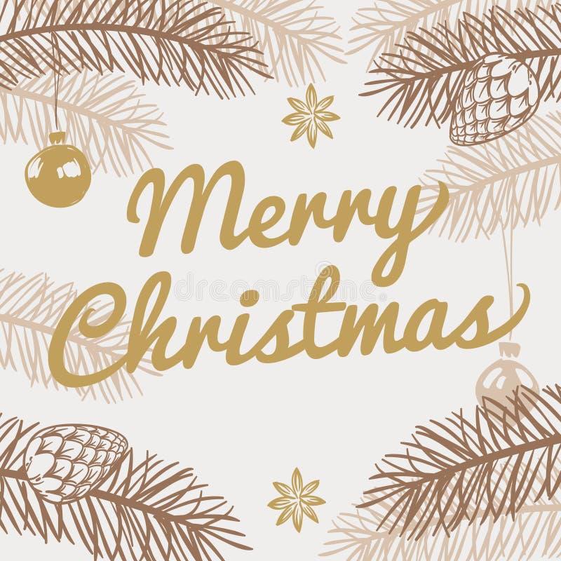Tarjeta de felicitación de la Feliz Navidad Fondo del vector de las vacaciones de invierno con el árbol de abeto dibujado mano libre illustration