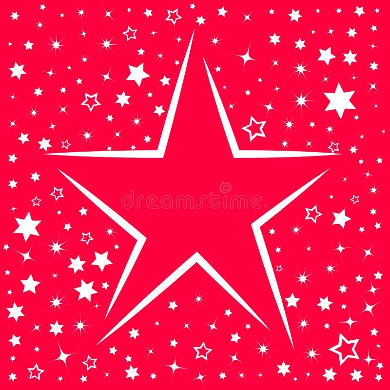 Tarjeta de felicitación de la Feliz Navidad Fondo simple con muchas estrellas ilustración del vector