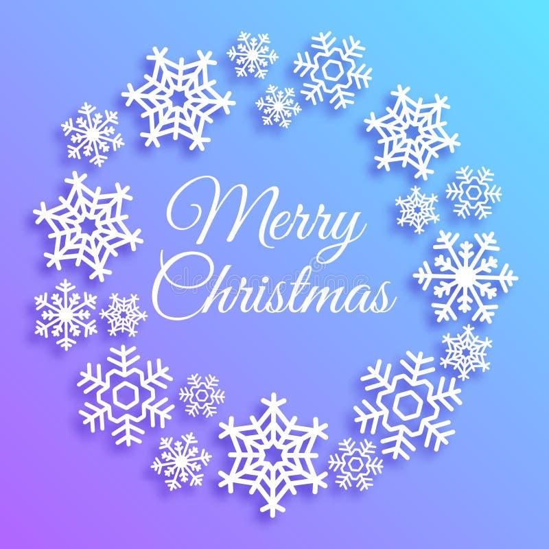 Tarjeta de felicitación de la Feliz Navidad Guirnalda hecha de los copos de nieve blancos Cartel elegante del vector, aviador, or stock de ilustración