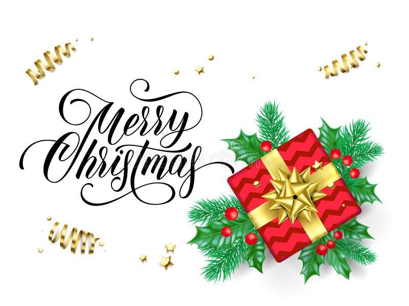 Tarjeta de felicitación de la Feliz Navidad de guirnalda y del regalo del árbol santo y de abeto en arco de oro de la cinta en fo stock de ilustración