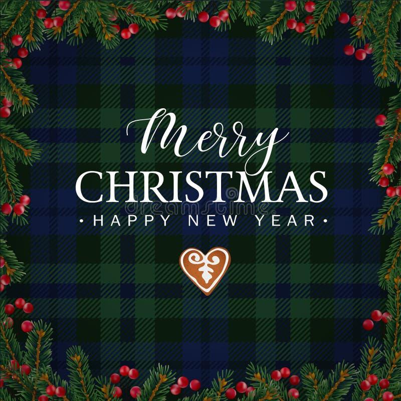 Tarjeta de felicitación de la Feliz Navidad, invitación con las ramas de árbol de navidad, bayas rojas frontera y galleta del pan ilustración del vector