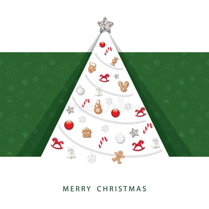 Tarjeta de felicitación de la Feliz Navidad y de la Feliz Año Nuevo árbol cortado papel 3D con los elementos decorativos ilustración del vector