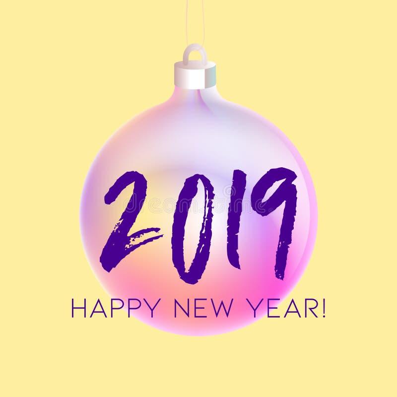Tarjeta de felicitación de la Feliz Navidad y de la Feliz Año Nuevo con la chuchería olográfica colorida, pendientes de neón mode ilustración del vector