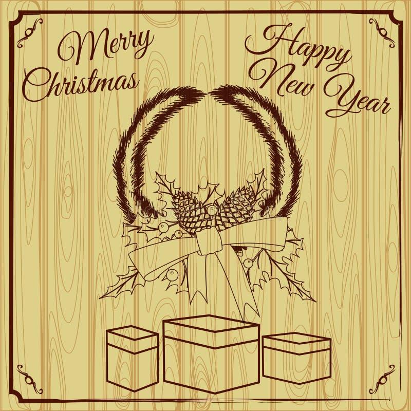Tarjeta de felicitación de la Feliz Navidad y de la Feliz Año Nuevo con los conos de abeto de las decoraciones de Chrirstmas, bay stock de ilustración
