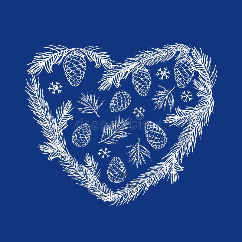 Tarjeta de felicitación de la Feliz Navidad y de la Feliz Año Nuevo Corazón del invierno con las ramas, los conos y los copos de  ilustración del vector