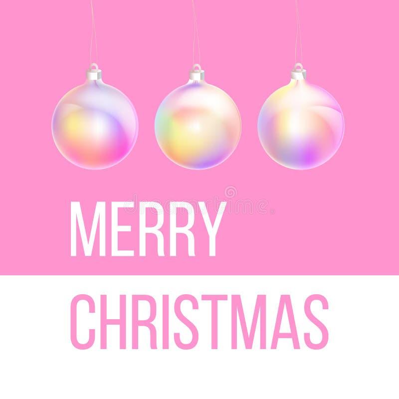 Tarjeta de felicitación de la Feliz Navidad y de la Feliz Año Nuevo del ornamento olográfico colorido de la chuchería, color de n ilustración del vector