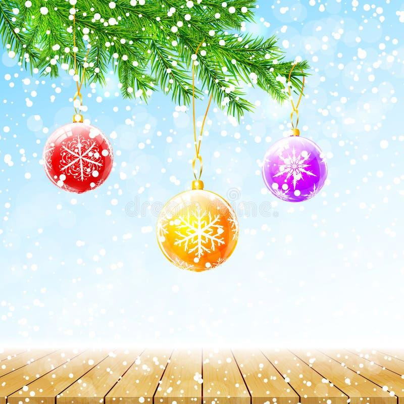 Tarjeta de felicitación de la Feliz Navidad y de la Feliz Año Nuevo Fondo del invierno con las ramas del abeto, las bolas colorid libre illustration