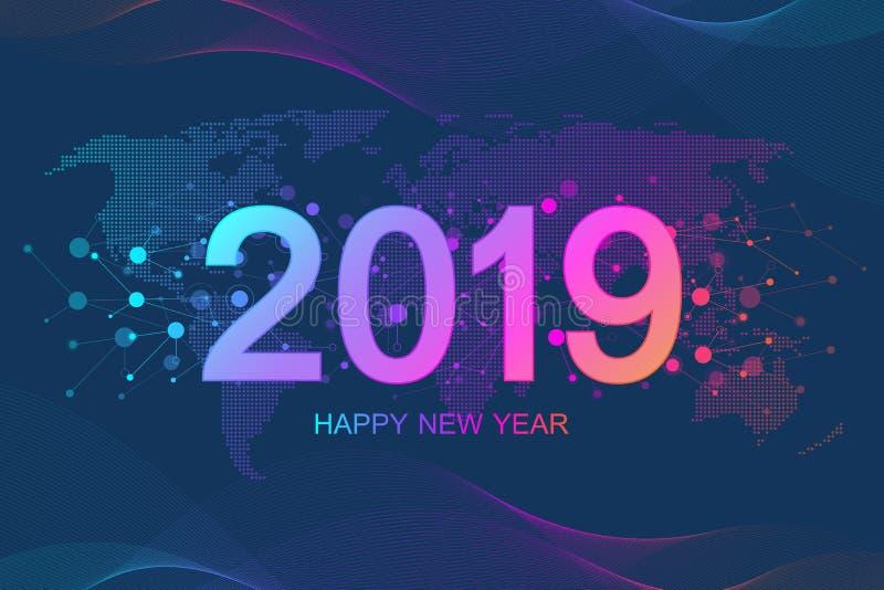 Tarjeta 2019 de felicitación de la Feliz Navidad y de la Feliz Año Nuevo Plantilla futurista moderna para 2019 Visualización de l libre illustration
