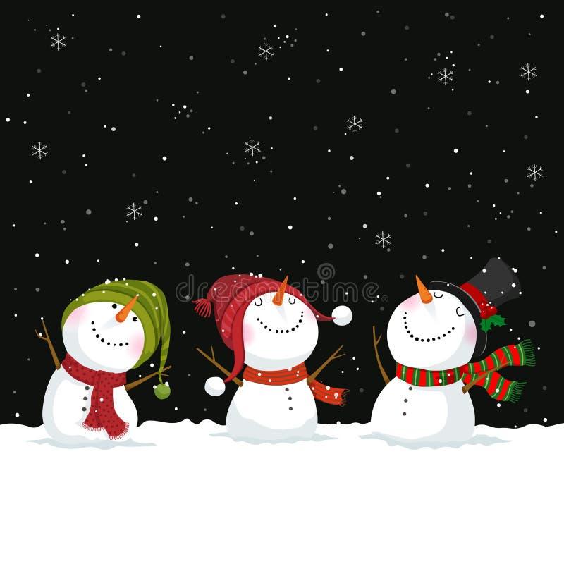Tarjeta de felicitación de la Feliz Navidad y del Año Nuevo con los muñecos de nieve stock de ilustración