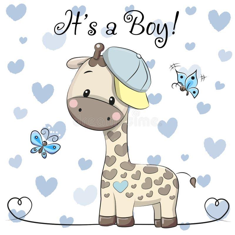Tarjeta de felicitación de la fiesta de bienvenida al bebé con el muchacho lindo de la jirafa stock de ilustración
