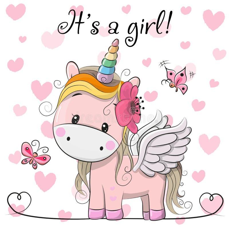 Tarjeta de felicitación de la fiesta de bienvenida al bebé con la muchacha del unicornio libre illustration