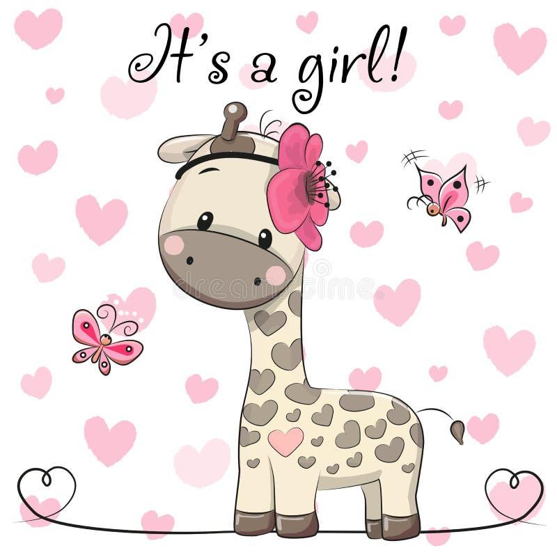 Tarjeta de felicitación de la fiesta de bienvenida al bebé con la muchacha de la jirafa ilustración del vector