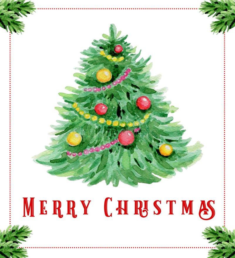 Tarjeta de felicitación de la Navidad de la acuarela con el árbol de abeto stock de ilustración