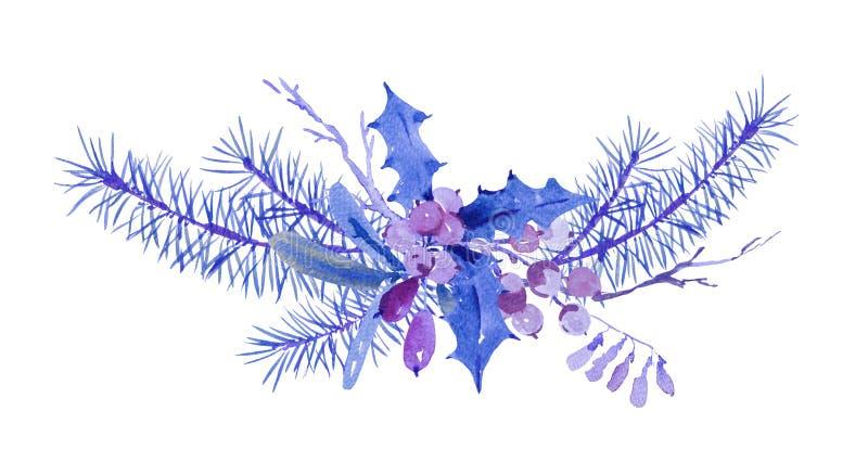Tarjeta de felicitación de la Navidad de la acuarela del invierno con las ramas de árbol y ilustración del vector