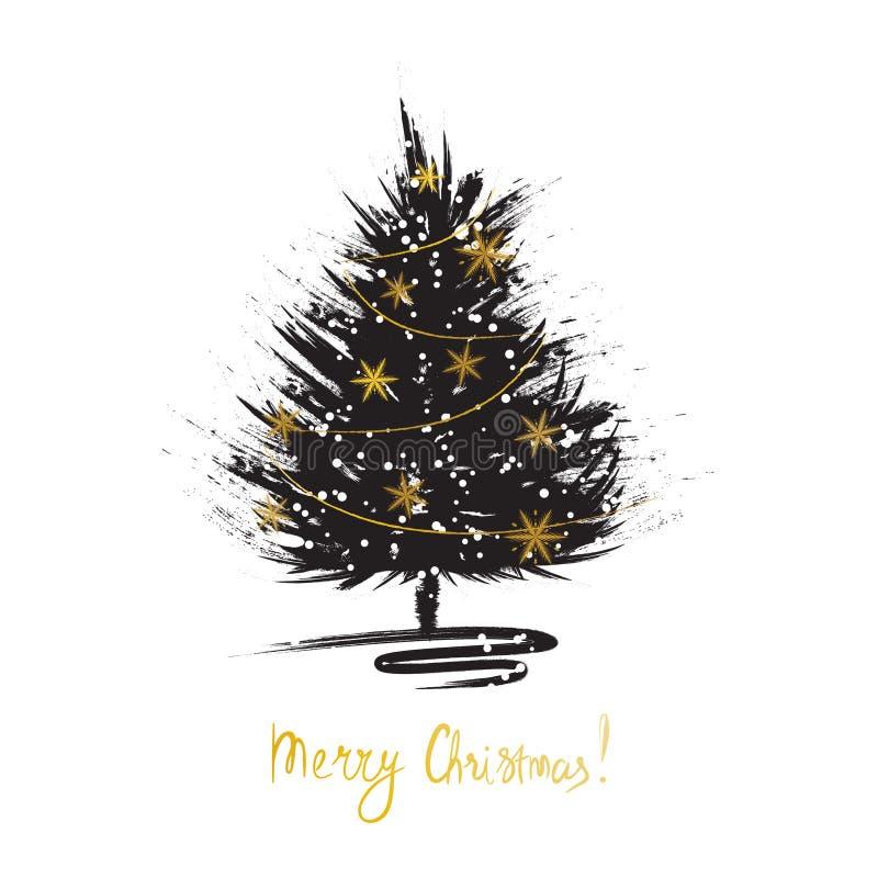 Tarjeta de felicitación de la Navidad con bosquejo del árbol de Navidad Abeto del Grunge con los copos de nieve de oro libre illustration