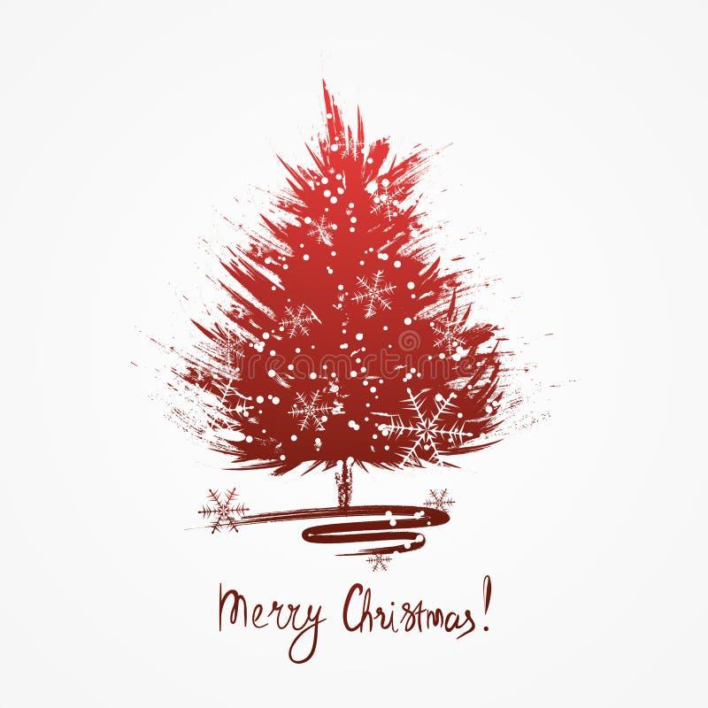 Tarjeta de felicitación de la Navidad con bosquejo del árbol de navidad Árbol de navidad del Grunge con los copos de nieve libre illustration