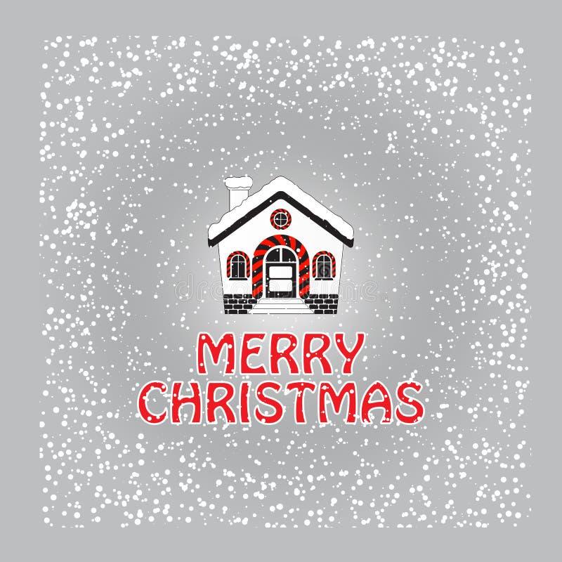 Tarjeta de felicitación de la Navidad con la casa y el copo de nieve nevados ilustración del vector