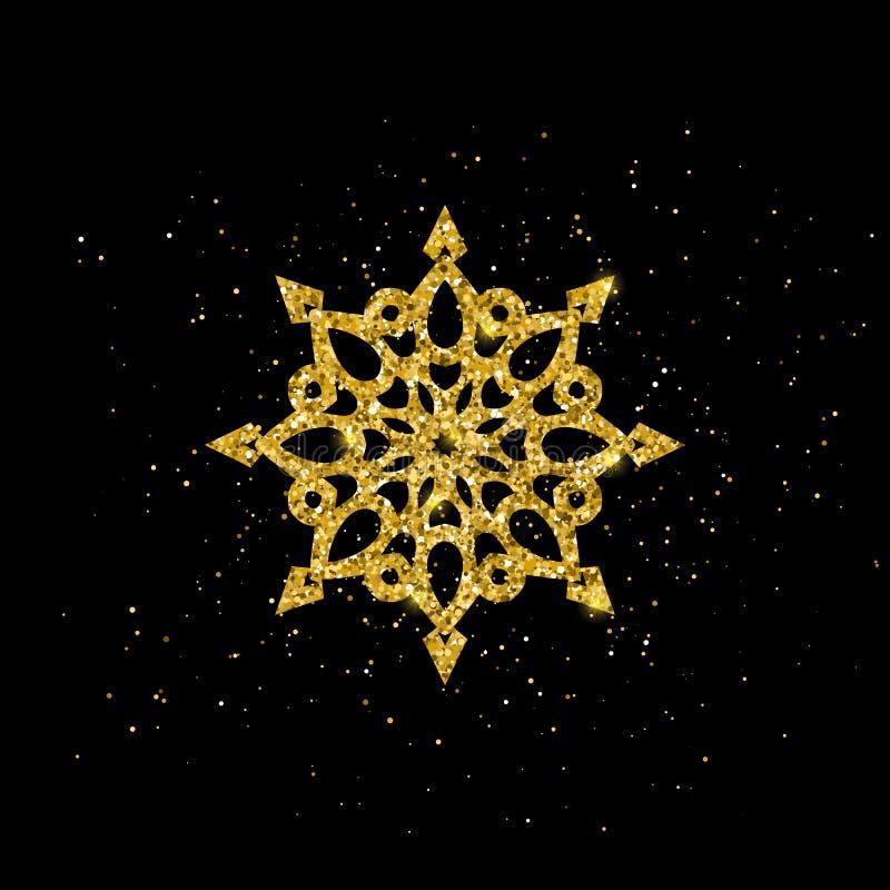 Tarjeta de felicitación de la Navidad con el copo de nieve del oro Vector libre illustration