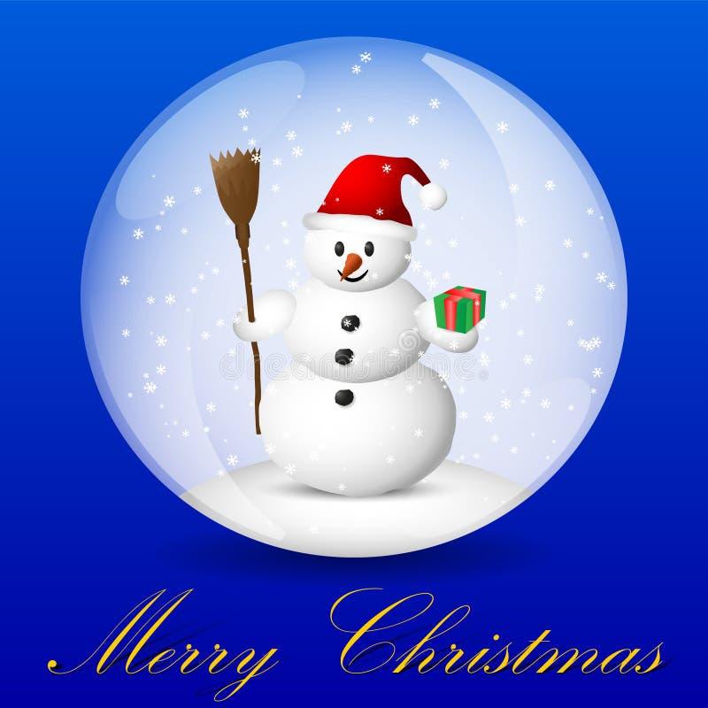 Tarjeta de felicitación de la Navidad con el muñeco de nieve dentro del globo de la nieve libre illustration