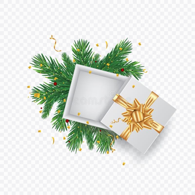 Tarjeta de felicitación de la Navidad con el rectángulo de regalo Lugar con la rama del vector del árbol de navidad y del espacio ilustración del vector