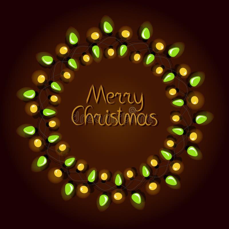 Tarjeta de felicitación de la Navidad con la guirnalda y el texto ilustración del vector