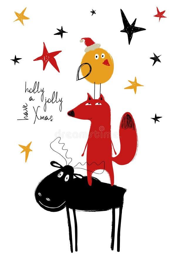 Tarjeta de felicitación de la Navidad con los alces divertidos, Fox y pájaro stock de ilustración
