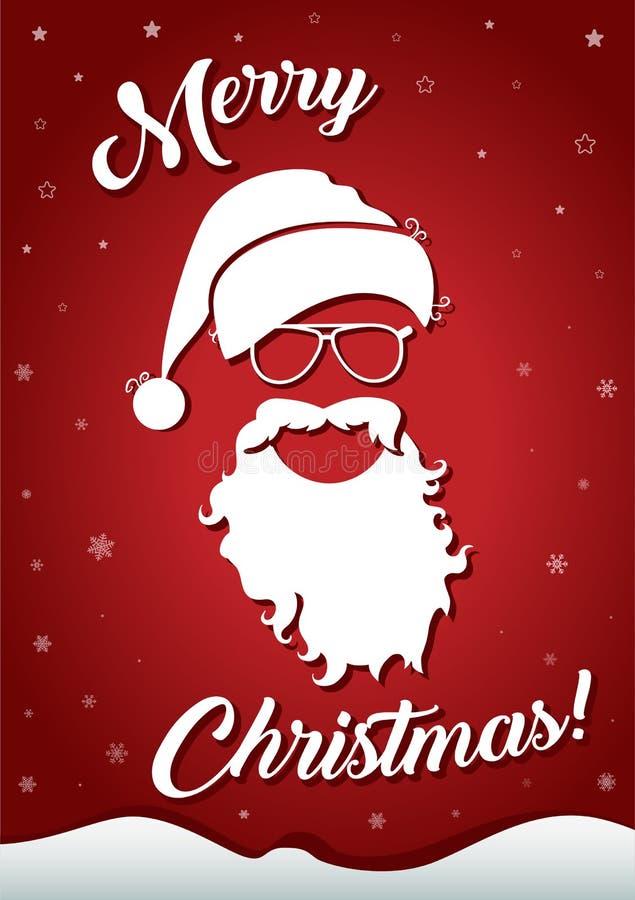 Tarjeta de felicitación de la Navidad con la silueta blanca del sombrero de Papá Noel, de vidrios, de la barba y del texto congra ilustración del vector