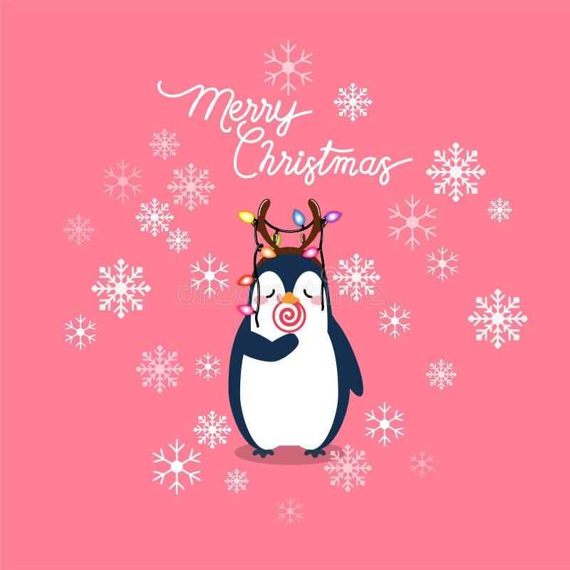 Tarjeta de felicitación de la Navidad del día de fiesta del vector con el pingüino de la historieta, escamas de la nieve stock de ilustración