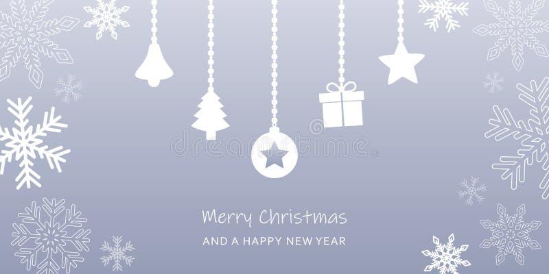 Tarjeta de felicitación de la Navidad del gris con la frontera y la decoración del copo de nieve ilustración del vector