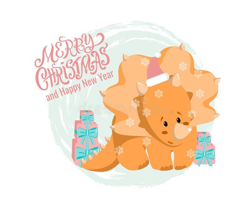 Tarjeta de felicitación de la Navidad del vector y del Año Nuevo con la mano dibujada poniendo letras a la Feliz Navidad, tricera ilustración del vector