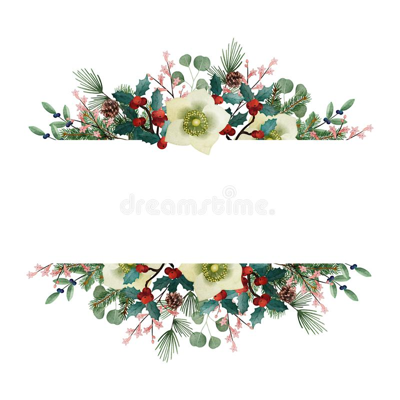 Tarjeta de felicitación de la Navidad del vintage, invitación Guirnalda floral de la acuarela hecha de ramas del árbol y del euca libre illustration