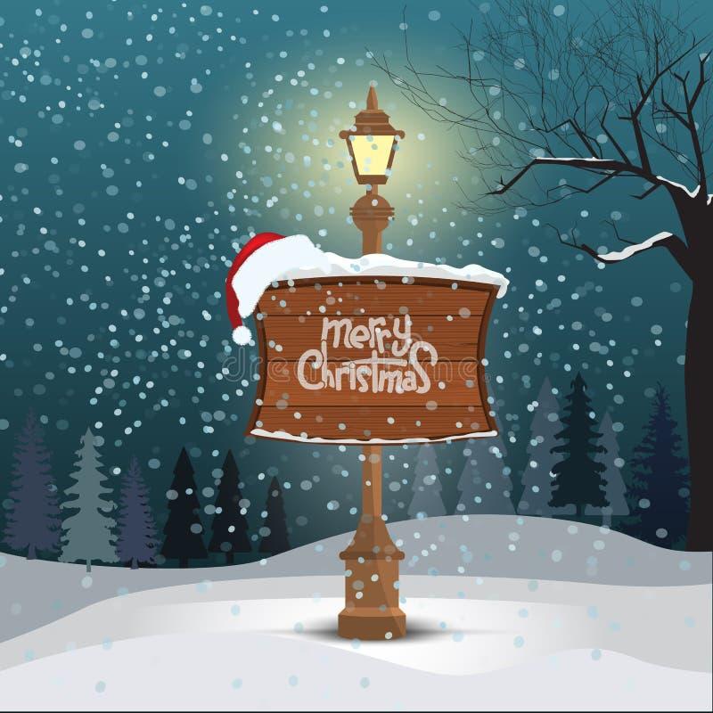 Tarjeta de felicitación de la Navidad - fondo nevoso del paisaje del invierno Lámpara de calle y tablero de madera con caligrafía stock de ilustración