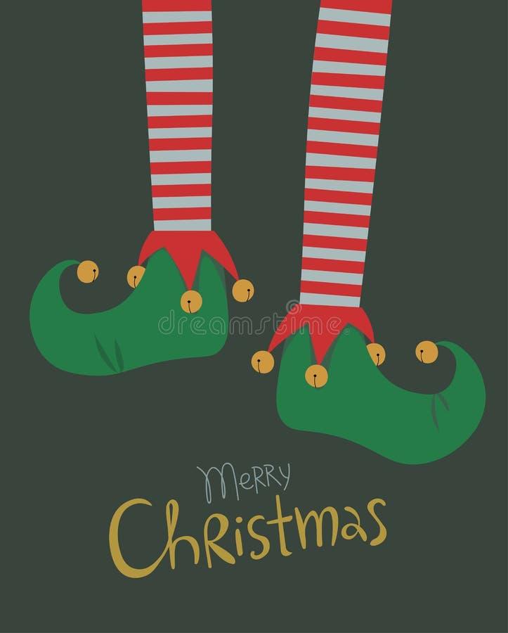 Tarjeta de felicitación de la Navidad de las piernas del duende stock de ilustración