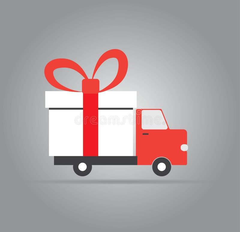 Tarjeta de felicitación de la Navidad y del Año Nuevo con entrega del regalo Ilustración del vector libre illustration