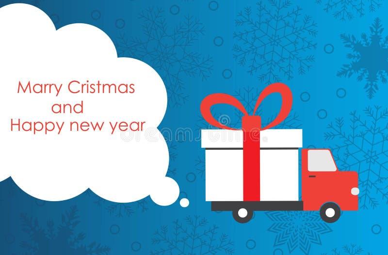 Tarjeta de felicitación de la Navidad y del Año Nuevo con la furgoneta de entrega del regalo con el espacio de la copia Ilustraci ilustración del vector