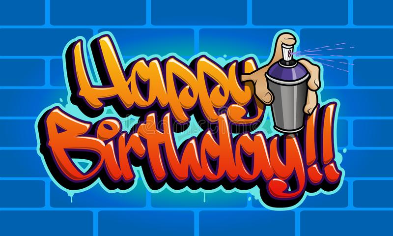 Tarjeta de felicitación de la pintada del feliz cumpleaños libre illustration