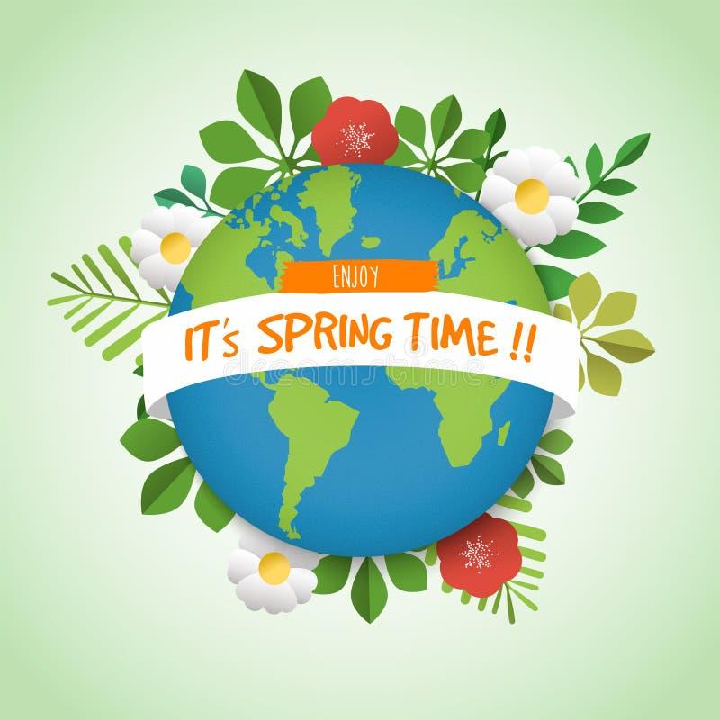 Tarjeta de felicitación de la tierra del planeta del verde del tiempo de primavera libre illustration