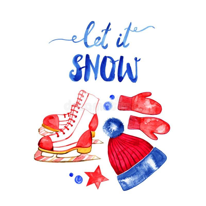 Tarjeta de felicitación de las decoraciones dibujadas mano de las letras y de los días de fiesta Texto de la Navidad para la tarj stock de ilustración