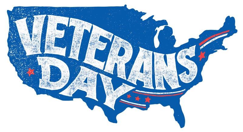 Tarjeta de felicitación de las mano-letras del día de fiesta del día de veteranos libre illustration