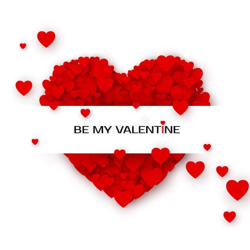 Tarjeta de felicitación de las tarjetas del día de San Valentín con los corazones Por mi plantilla de la invitación de la tarjeta stock de ilustración