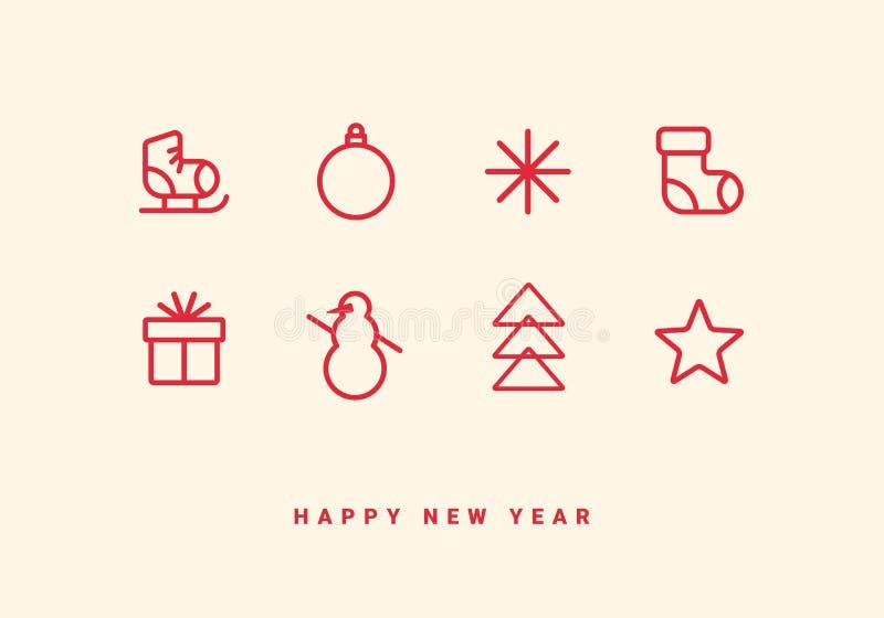 Tarjeta de felicitación de las vacaciones de invierno con la línea iconos libre illustration