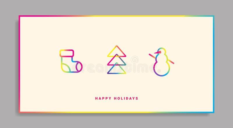 Tarjeta de felicitación de las vacaciones de invierno con los iconos de la pendiente ilustración del vector